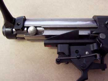 A view of the bolt configuration and trigger assembly on the 210FT.