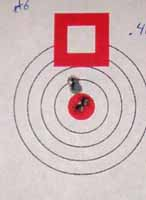 100 yard target shot with factory Hornady load with 40gr V-Max bullet.