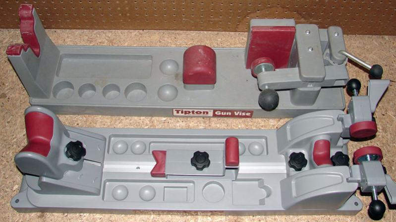 The original Tipton Gun Vise (top) in comparison to the newer Best Gun Vise (bottom).