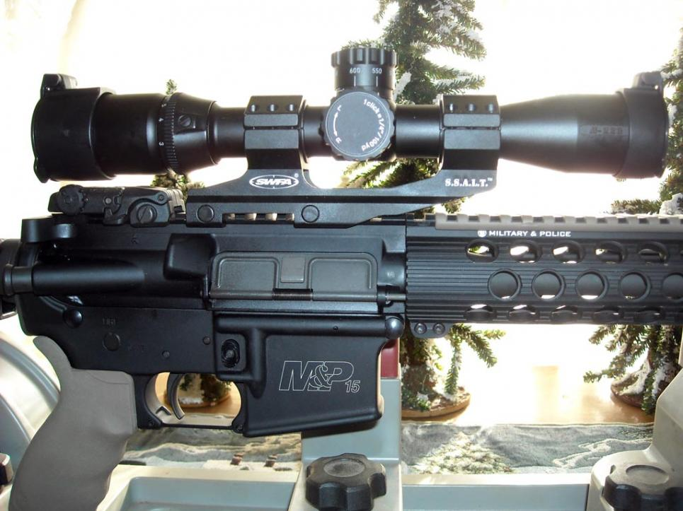 Nikon M-223 2-8x32mm mounted atop a Smith & Wesson M&P15 TS