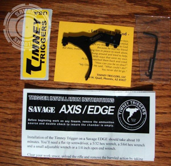 Contents of the package include the trigger, instructions, hex wrench and a spare e-clip.