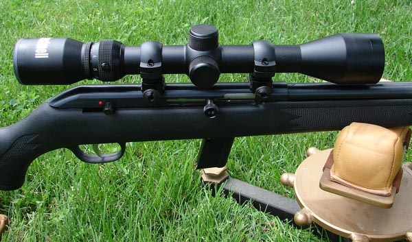 The scope included in the 64FV-XP package is a Bushnell model rather than a Simmons as typically found on the centerfire package guns.