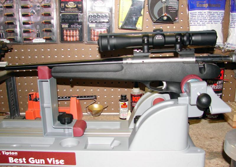 The Best Gun Vise adjusts to hold most any type of firearm, including a Savage Striker.