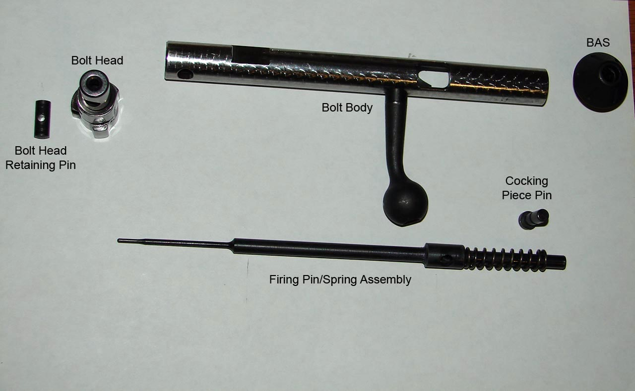 Various parts that make up the Model 25 bolt assembly