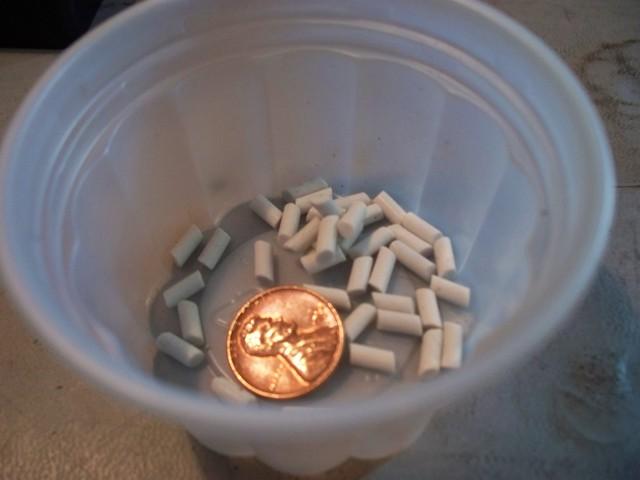 A close-up shot showing the pellet size.
