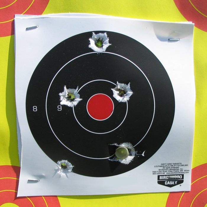 """Group shot with Federal Power-Shock 2-3/4"""" saboted slugs at 75 yards"""