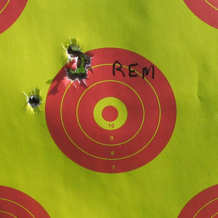 "Group shot with Remington Core-Lokt Ultra Bonded 2-3/4"" saboted slugs"