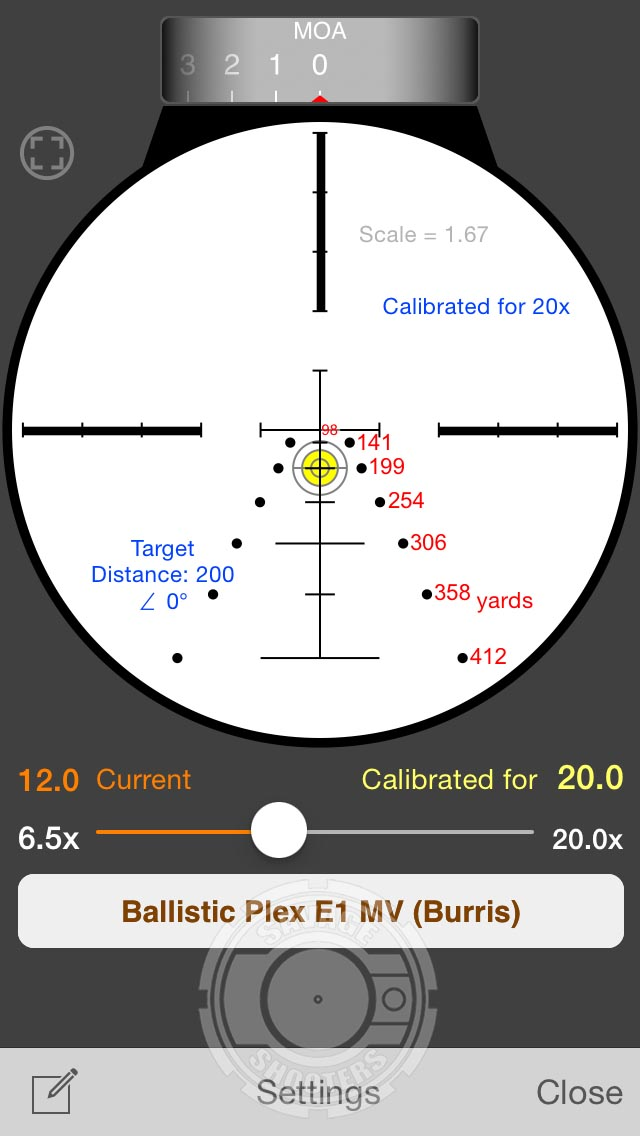 StrelokPro calculated ballistic chart for the E1-MV reticle