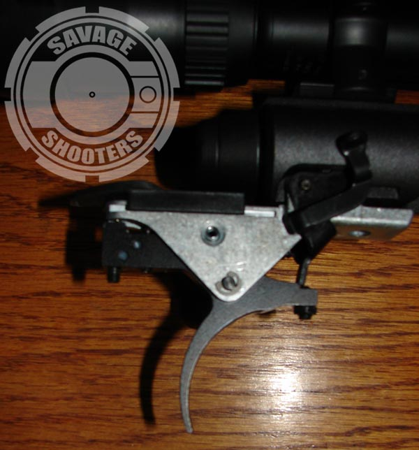 Timney replacement trigger in place in factory trigger hanger.